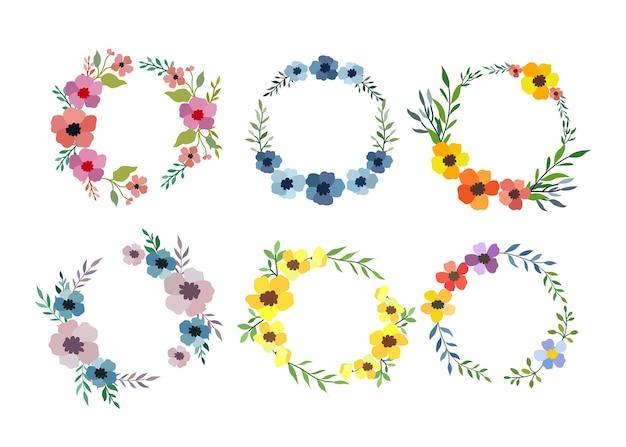Zestaw sześciu akwarela kwiat ramki na białym tle