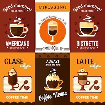 Zestaw sześciu banerów kawy