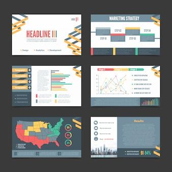 Zestaw sześciu banerów szablonów prezentacji poziomej