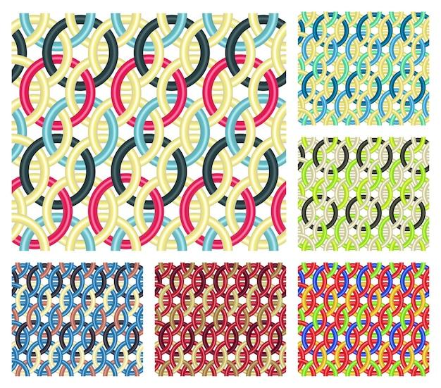 Zestaw sześciu bezszwowych wzorów składających się z wielokolorowych splecionych pierścieni.