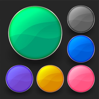 Zestaw sześciu błyszczących pustych okrągłych przycisków