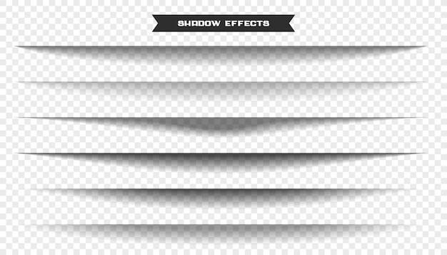 Zestaw sześciu efektów cienia szerokiego arkusza papieru
