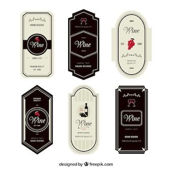 Zestaw sześciu eleganckich etykiet win z czerwonymi szczegółami