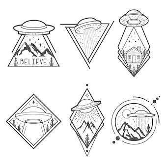 Zestaw sześciu emblematów ufo