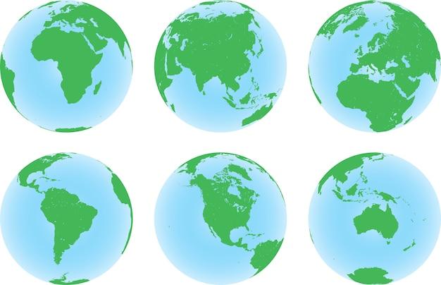 Zestaw sześciu globusów planety ziemia z zieloną mapą lądu