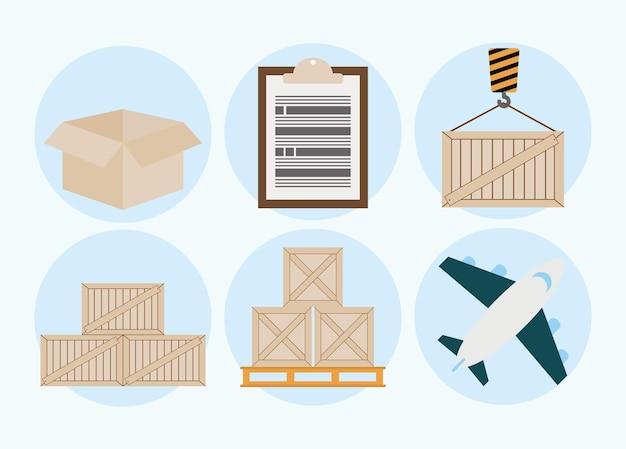Zestaw sześciu ikon logistycznych