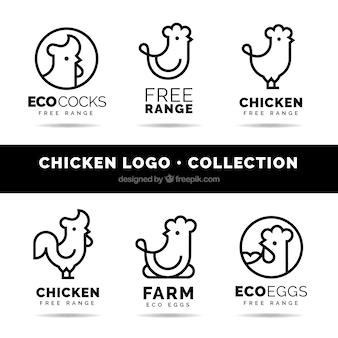 Zestaw sześciu liniowych logo z kurczaka