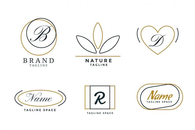 Zestaw sześciu minimalistycznych eleganckich logo w stylu linii