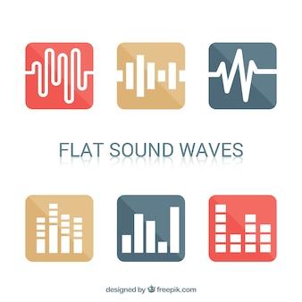 Zestaw sześciu minimalistycznych fal dźwiękowych