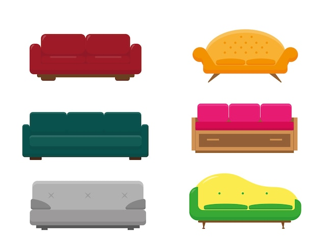 Zestaw sześciu modeli sof. kolorowa kolekcja sof na białym tle.