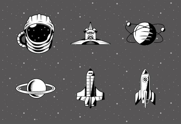 Zestaw sześciu naszywek kosmicznych