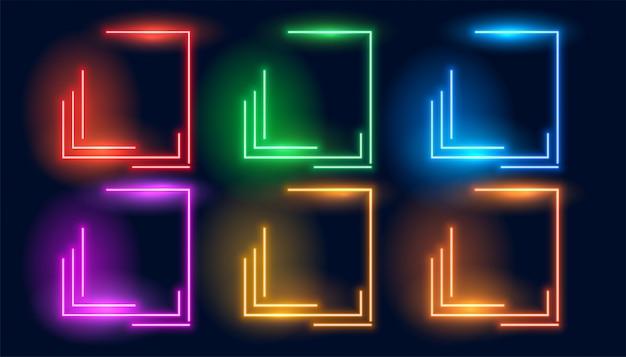 Zestaw sześciu neonowych kolorowych geometrycznych pustych ramek