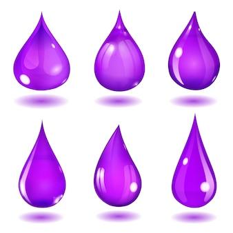 Zestaw sześciu nieprzezroczystych kropli o różnych formach w nasyconych kolorach fioletu