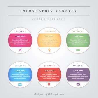 Zestaw sześciu okrągłych banerów infograficznych