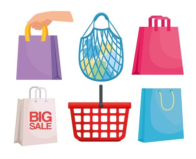 Zestaw sześciu opakowań na zakupy
