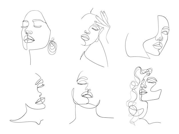 Zestaw sześciu portretów. prosta, minimalistyczna ilustracja wektorowa pięknej twarzy kobiety. rysowanie linii.