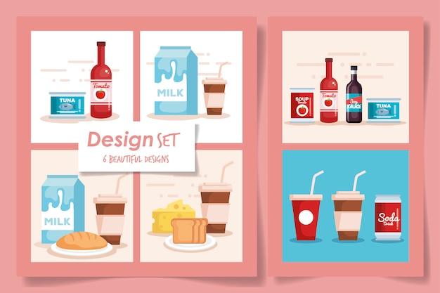 Zestaw sześciu produktów z supermarketu produktów