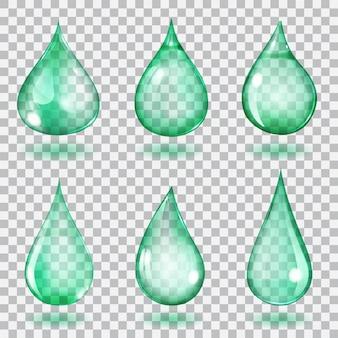 Zestaw sześciu przezroczystych kropli o różnych kształtach w turkusowych kolorach