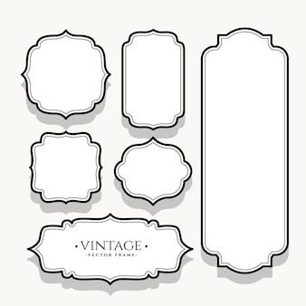 Zestaw sześciu pustych etykiet vintage