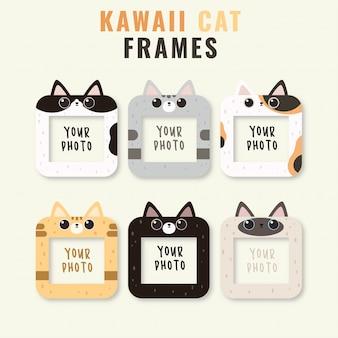 Zestaw sześciu ramek kawaii cute cat photo