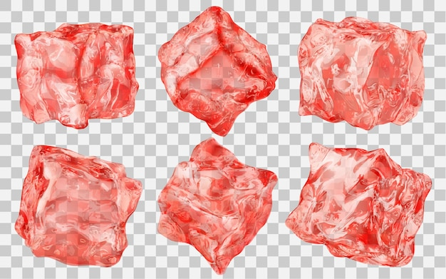 Zestaw sześciu realistycznych przezroczystych kostek lodu w kolorze czerwonym na przezroczystym tle. przezroczystość tylko w formacie wektorowym