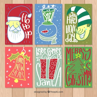 Zestaw sześciu ręcznie narysowanych kartek świątecznych