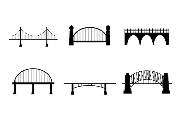 Zestaw sześciu rodzajów mostów w konturowym czarnym kolorze na białym tle