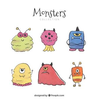 Zestaw sześciu różnych postaci potworów