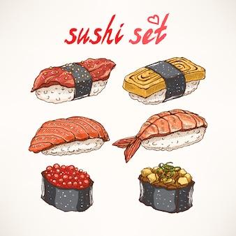 Zestaw sześciu różnych rodzajów pysznego, ręcznie rysowanego sushi
