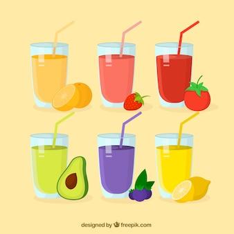 Zestaw sześciu różnych soków owocowych
