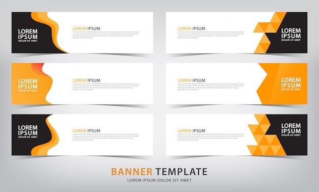 Zestaw sześciu szablonów banner streszczenie pomarańczowy web
