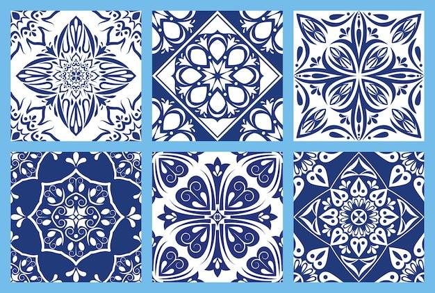 Zestaw sześciu sztuk włoskich tłów ceramicznych