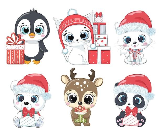 Zestaw sześciu uroczych zwierzątek na nowy rok i na boże narodzenie. kocięta, pingwin, niedźwiedź polarny, jeleń, panda. ilustracja wektorowa kreskówki.