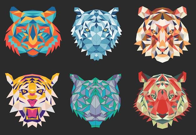 Zestaw sześciu wielokątnych symboli tygrysa nowego roku na kartkę świąteczną