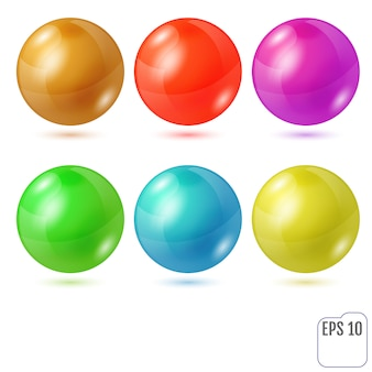 Zestaw sześciu wielokolorowych realistycznych kolorowych kulek