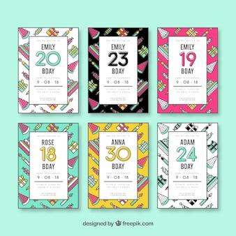 Zestaw sześciu zaproszeń urodzinowych w płaskiej konstrukcji