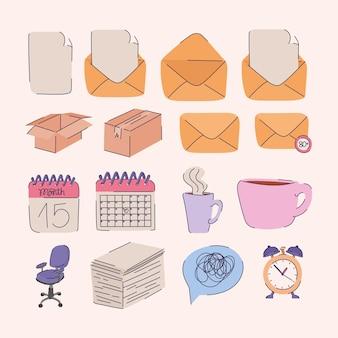 Zestaw szesnastu ikon biurowych