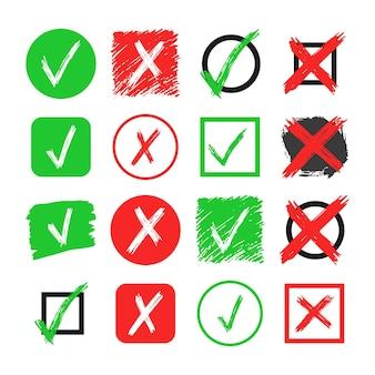 Zestaw szesnastu ręcznie rysowane elementy wyboru i krzyż znak na białym tle. grunge doodle zielony znacznik wyboru ok i czerwony x w różnych ikonach. ilustracja wektorowa
