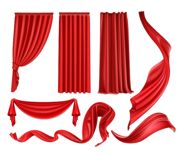 Zestaw szkarłatnych jedwabnych aksamitnych zasłon i draperii, trzepoczące czerwone szmatki na białym tle