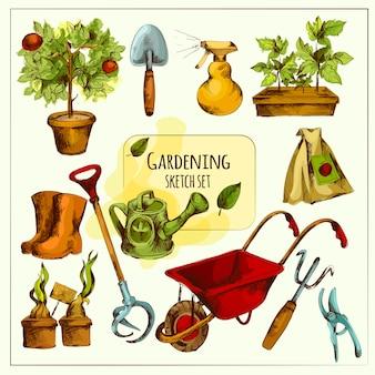 Zestaw szkic ogrodnictwa w kolorze