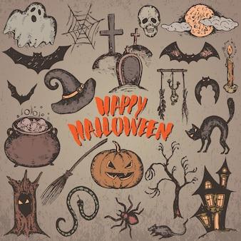 Zestaw szkic znaków halloween z kapeluszem czarownicy