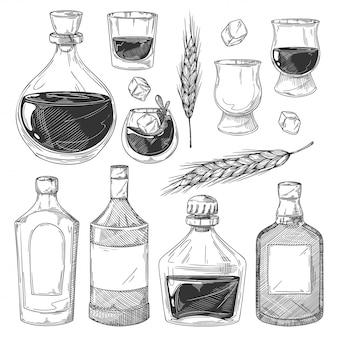 Zestaw szkiców butelek whisky. szklanki do whisky szkockiej, butelki z pustymi etykietami, kostki lodu, kolekcja ikon jęczmienia. ilustracja rocznika napojów alkoholowych