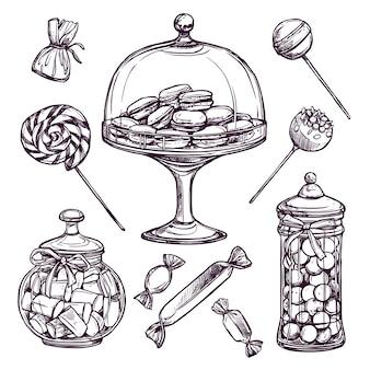 Zestaw szkiców cukierków