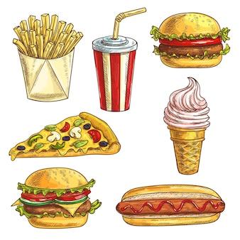 Zestaw szkiców fast food. na białym tle elementy burgera, hamburgera, cheeseburgera, napój gazowany w filiżance, lody, kawałek pizzy, hot dog, frytki w pudełku