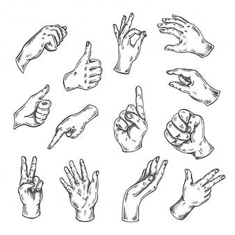 Zestaw szkiców gestów dłoni