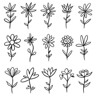 Zestaw szkiców i linii gryzmoły ręcznie rysowane elementy kwiatowe, dzikie kwiaty, ręcznie rysowane rośliny