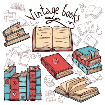 Zestaw szkiców książek