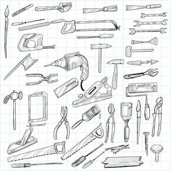 Zestaw szkiców narzędzi budowlanych ręcznie rysować