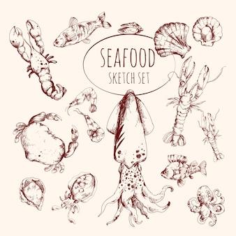 Zestaw szkiców owoców morza