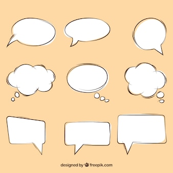 Zestaw szkiców pęcherzyków mowy